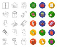 E-kommers, köp- och försäljningsöversikt, plana symboler i den fastställda samlingen för design Reng?ringsduk f?r materiel f?r ha royaltyfri illustrationer