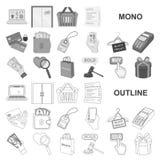 E-kommers, köp- och försäljningsmonochromsymboler i den fastställda samlingen för design Rengöringsduk för materiel för handel- o royaltyfri illustrationer