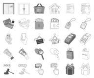 E-kommers, köp- och försäljningsmonokrom, översiktssymboler i den fastställda samlingen för design Handel- och finansvektorsymbol vektor illustrationer