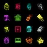 E-kommers, köp- och försäljningsneonsymboler i den fastställda samlingen för design Rengöringsduk för materiel för handel- och fi stock illustrationer