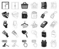 E-kommers, köp- och försäljningssvart, översiktssymboler i den fastställda samlingen för design Materiel för handel- och finansve vektor illustrationer