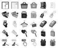 E-kommers, köp- och försäljningssvart, monokromma symboler i den fastställda samlingen för design Materiel för handel- och finans royaltyfri illustrationer