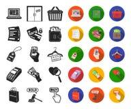 E-kommers, köp- och försäljningssvart, plana symboler i den fastställda samlingen för design Rengöringsduk för materiel för hande stock illustrationer