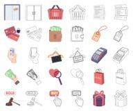 E-kommers, köp och försäljningstecknad film, översiktssymboler i den fastställda samlingen för design Materiel för handel- och fi stock illustrationer