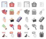 E-kommers, köp och försäljningstecknad film, mono symboler i den fastställda samlingen för design Rengöringsduk för materiel för  stock illustrationer