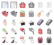 E-kommers, köp och försäljningstecknad film, monochromsymboler i den fastställda samlingen för design Handel- och finansvektorsym stock illustrationer