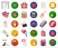 E-kommers, köp och försäljningstecknad film, plana symboler i den fastställda samlingen för design Rengöringsduk för materiel för stock illustrationer