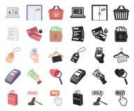 E-kommers, köp och försäljningstecknad film, svarta symboler i den fastställda samlingen för design Materiel för handel- och fina vektor illustrationer