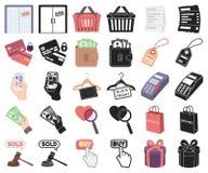 E-kommers, köp och försäljningstecknad film, svarta symboler i den fastställda samlingen för design Materiel för handel- och fina royaltyfri illustrationer