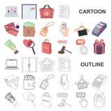 E-kommers, köp- och försäljningstecknad filmsymboler i uppsättningsamlingen för design Rengöringsduk för materiel för handel- och royaltyfri illustrationer