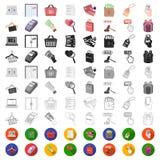 E-kommers, köp- och försäljningstecknad filmsymboler i uppsättningsamlingen för design Rengöringsduk för materiel för handel- och stock illustrationer