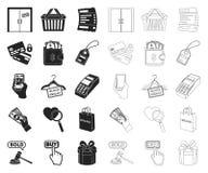 E-kommers, k?p- och f?rs?ljningssvart, ?versiktssymboler i den fastst?llda samlingen f?r design Materiel f?r handel- och finansve royaltyfri illustrationer