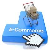 E-kommers knapp - online-shoppingbegrepp stock illustrationer