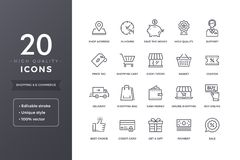 E-kommers linje symboler stock illustrationer