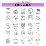 E-kommers linje symbolsuppsättning - streckad stil för översikt 25 royaltyfri illustrationer