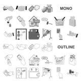 E-kommers och affärsmonochromsymboler i den fastställda samlingen för design Köpa och sälja rengöringsduk för vektorsymbolmaterie royaltyfri illustrationer