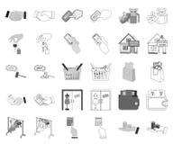 E-kommers och affärsmonokrom, översiktssymboler i den fastställda samlingen för design Köpa och sälja vektorsymbolmaterielet vektor illustrationer
