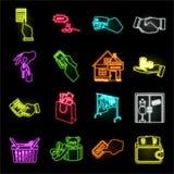E-kommers och affärsneonsymboler i den fastställda samlingen för design Köpa och sälja vektorsymbol lagerföra rengöringsdukillust stock illustrationer