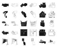 E-kommers och affärssvart, översiktssymboler i den fastställda samlingen för design Köpa och sälja rengöringsduk för vektorsymbol stock illustrationer