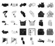 E-kommers och affärssvart, monokromma symboler i den fastställda samlingen för design Köpa och sälja rengöringsduk för vektorsymb royaltyfri illustrationer