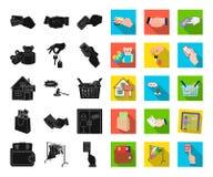 E-kommers och affärssvart, plana symboler i den fastställda samlingen för design Köpa och sälja rengöringsduk för vektorsymbolmat royaltyfri illustrationer