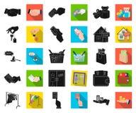 E-kommers och affärssvart, plana symboler i den fastställda samlingen för design Köpa och sälja rengöringsduk för vektorsymbolmat vektor illustrationer
