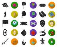 E-kommers och affärssvart, plana symboler i den fastställda samlingen för design Köpa och sälja rengöringsduk för vektorsymbolmat stock illustrationer