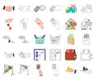 E-kommers och affärstecknad film, översiktssymboler i den fastställda samlingen för design Köpa och sälja rengöringsduk för vekto stock illustrationer