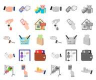 E-kommers och affärstecknad film, mono symboler i den fastställda samlingen för design Köpa och sälja rengöringsduk för vektorsym vektor illustrationer