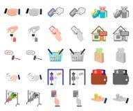 E-kommers och affärstecknad film, monochromsymboler i den fastställda samlingen för design Köpa och sälja rengöringsduk för vekto vektor illustrationer