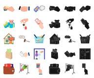 E-kommers och affärstecknad film, svarta symboler i den fastställda samlingen för design Köpa och sälja rengöringsduk för vektors royaltyfri illustrationer