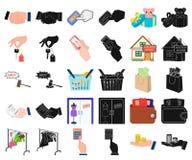 E-kommers och affärstecknad film, svarta symboler i den fastställda samlingen för design Köpa och sälja rengöringsduk för vektors stock illustrationer