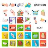E-kommers och affärstecknad filmsymboler i uppsättningsamlingen för design Köpa och sälja rengöringsduk för vektorsymbolmateriel vektor illustrationer