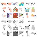 E-kommers och affärstecknad filmsymboler i uppsättningsamlingen för design Köpa och sälja rengöringsduk för vektorsymbolmateriel stock illustrationer