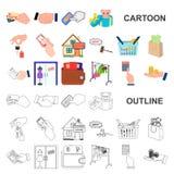 E-kommers och affärstecknad filmsymboler i uppsättningsamlingen för design Köpa och sälja rengöringsduk för vektorsymbolmateriel royaltyfri illustrationer