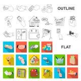 E-kommers och för affär plana symboler i uppsättningsamlingen för design Köpa och sälja vektorsymbol lagerföra rengöringsdukillus stock illustrationer