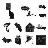 E-kommers och för affär svarta symboler i uppsättningsamlingen för design Köpa och sälja rengöringsduk för vektorsymbolmateriel stock illustrationer