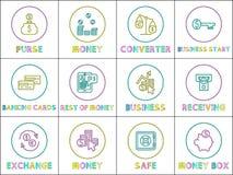 E-kommers och för online-affär linjär symbolsuppsättning royaltyfri illustrationer