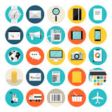 E-kommers och för shopping plana symboler stock illustrationer