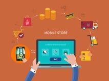 E-kommers och online-shoppingsymboler Fotografering för Bildbyråer