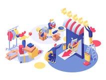 E-kommers och shoppa den isometriska illustrationen för vektor Shoppa assistenten som gör inventariet, entreprenöröppningslager o vektor illustrationer