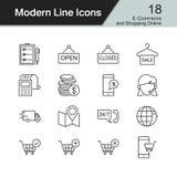 E-kommers och shoppa online-symboler Modern linje designuppsättning 18 royaltyfri illustrationer