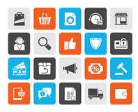 E-kommers och shoppingsymboler royaltyfri illustrationer