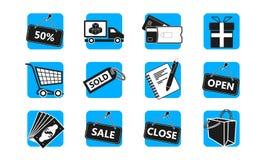 E-kommers och shoppingsymbolsuppsättning royaltyfri illustrationer
