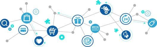 """E-kommers/online-illustration för vektor för †för shopping-/internetköpbegrepp """" vektor illustrationer"""