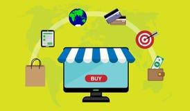 E-kommers online-köp av varor och tjänst royaltyfri illustrationer