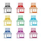 E-kommers online-lagersymbol eller logo Affärsidé färguppsättning royaltyfri illustrationer
