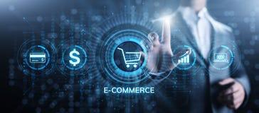E-kommers online-shoppa Digital marknadsf?ring och begrepp f?r f?rs?ljningsaff?rsteknologi stock illustrationer