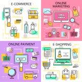 E-kommers online-shopping, marknadsföring, online-betalningbaner Affär Internet- och mobilmarknadsföringsbegrepp För rengöringsdu vektor illustrationer