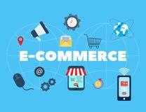E-kommers, online-shopping och detaljhandel royaltyfri illustrationer